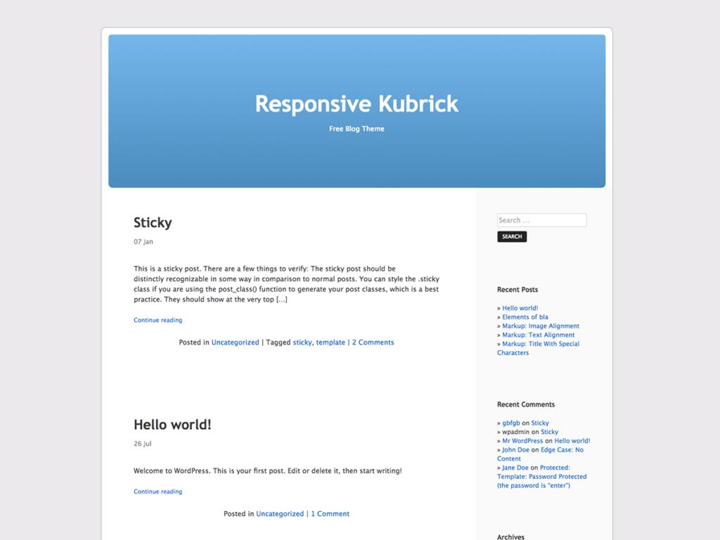 Screenshot von dem Kubrick Theme