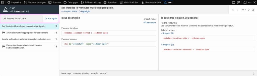Screenshot axe in den Entwickler-Tools