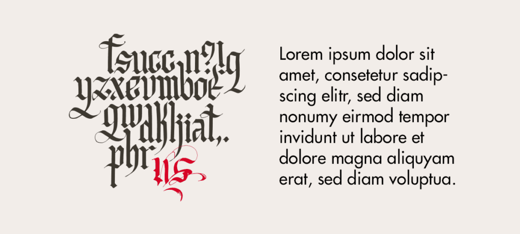Buchstaben in  schwer lesbarer Frakturschrift links. Lorem ipsum in ut lesbarer sans serif Schrift rechts.