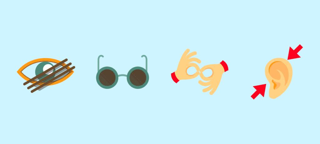 Piktogramme für schelcht sehen, blind, Zeichensprache, Schwerhörigkeit