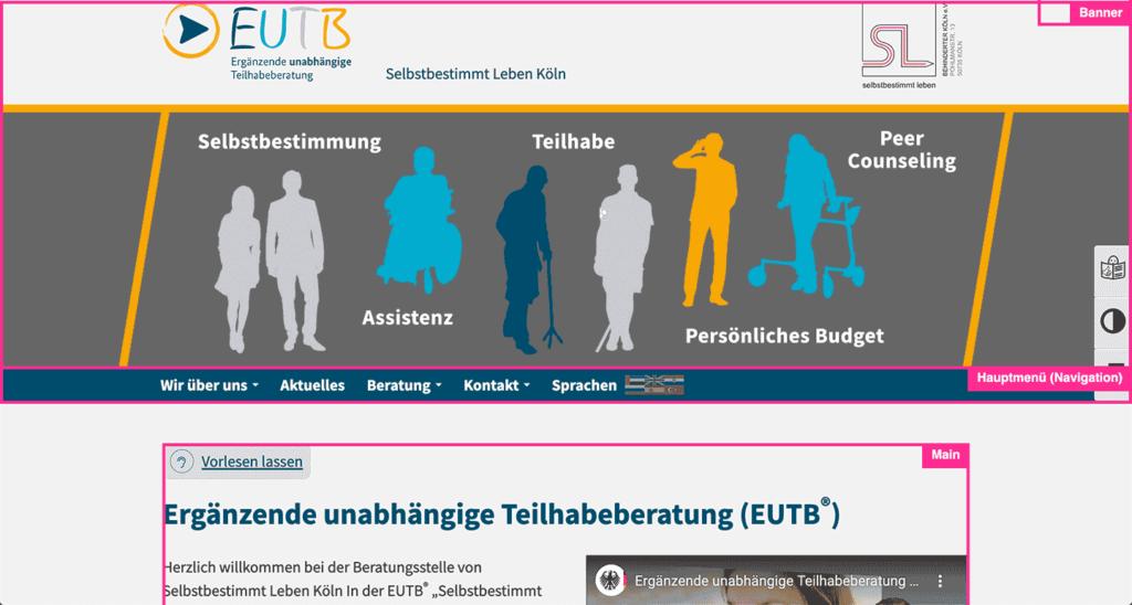 Screenshot der EUTB Website mit angezeigten Landmarks